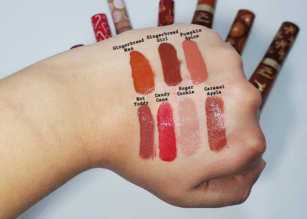 too faced holiday 2020 lip kit swatches