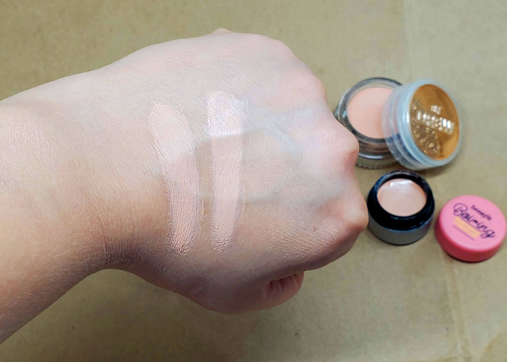 Flower Beauty Chill Out Corrector Swatched Near Benefit Boi'ing Brightening Concealer